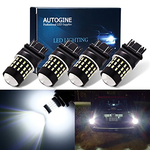 AUTOGINE 4pcs 1000 Lumens 9-30V 3157 3156 3057 3056 4157 LED Bulbs 3014 54-EX Chipsets with Projector for Reverse Back Up Lights DRL Tail Brake Lights, Xenon White