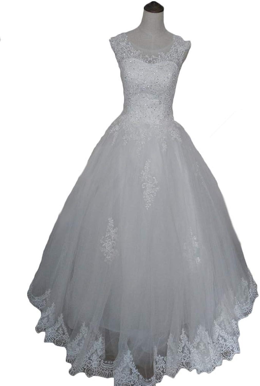 WAWALI Lace Appliques Neckline See Through Wedding Dress Bride Gowns