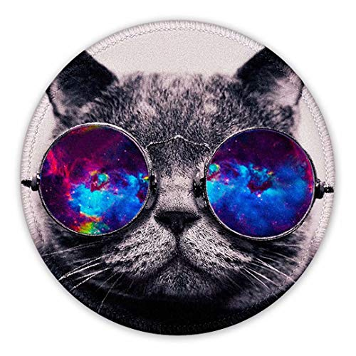 Cat Mouse Pad Round Cute Mouse Mat with Stitched Edge, Anti Slip Rubber Base Mousepads Small Funny Mouse Pads for Travel Working and Gaming