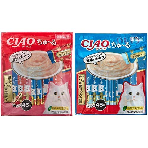 CIAO Cat Snacks, Churu Tuna Variety, 0.5 oz (14 g) x 45 Packs & (CIAO) Cat Snacks, Chunchuru Bonito Mixed Flavor, 0.5 oz (14 g) x 45 Packs