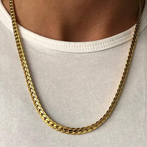 ZhenS Punk 4 / 7mm Collar de Cadena de Serpiente Plana en Relieve Cadenas de Acero Inoxidable para Hombres Mujeres Joyería de moda-Oro-4mm, 64cm