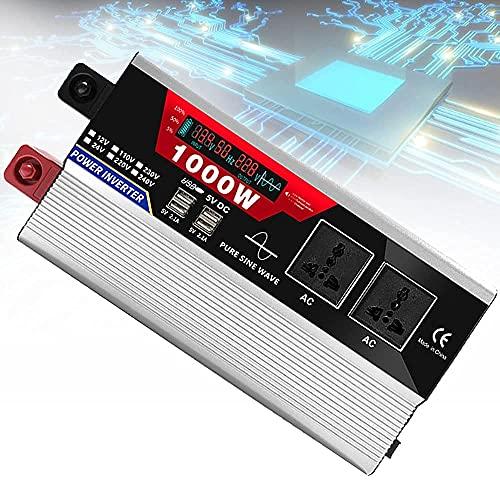 FHISD Inversor de Onda sinusoidal Pura de 2000 vatios 12 V 24 V CC a 110 V 220 V CA Inversor de Coche con 2 Salidas de CA + 6 Puertos USB 2.1A, Interruptor Remoto y c