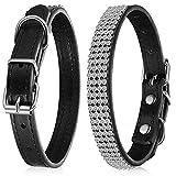Collar de perro con diamantes de imitación, collar de gato de cristal para perro, cachorro, perros pequeños y medianos (negro)