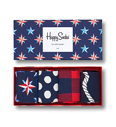 Happy Socks Gift Boxes for Men, Women | Colorful, Fun, Unique, Themed Patterns | Premium Cotton Sock in 2 sizes 9-11, 10-13 (Nautical, 4 Pack)
