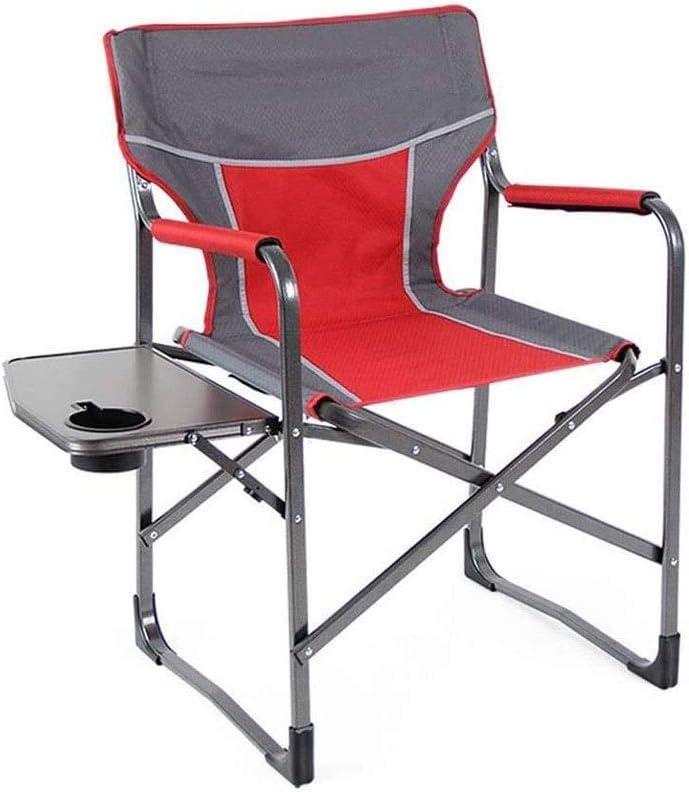 ZBQLKM Silla de Camping, Silla Plegable portátil con Mesa Lateral, Mango for Playa/Pesca en Hielo/de Exterior/de Viaje/Picnic/Concierto, Silla Plegable del Campamento de Mesa