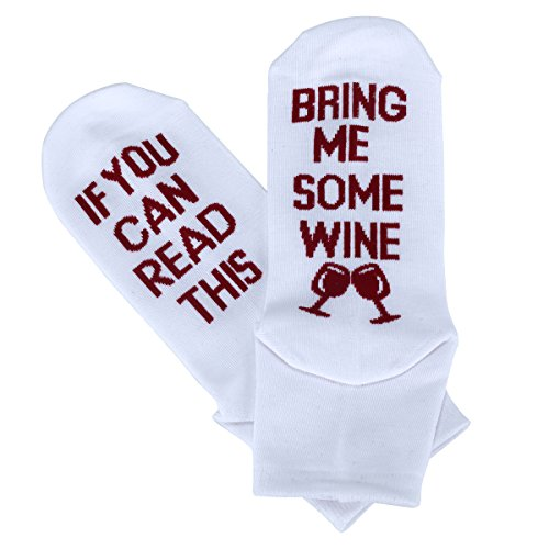 Women's Cotton Funny Crew Socks Novelty Funky Cute Wine Party Hosiery (White)