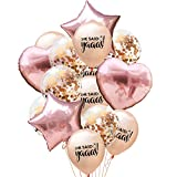 Caliente 12 Inch Colores Mezclados Oro Rosa Confeti Globo Transparente Dorado Papel Globo Cinco Estrellas Amor - Color Oro Champagne Texto + Confeti, one size