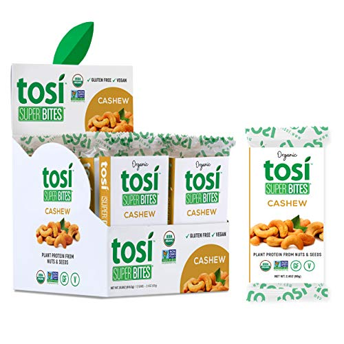 Tosi Organic SuperBites Vegan Snacks, 2.4oz (Pack of 12), Gluten Free, Omega 3s, Plant Protein Bars with Flax and Chia Seeds (Cashew)