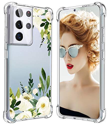 Funda para Samsung Galaxy S21 Ultra para mujeres y hombres, funda de silicona S21 Ultra resistente a los golpes, diseño de flores S21 Ultra 5G funda para Samsung Galaxy S21 Ultra 2021