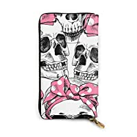 Skull In A Pink Headband 長財布 メンズ レディース 本革 マネークリップ 大容量 高級感あり 手触り良い 本革製 12カード入れ
