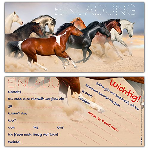 BREITENWERK 12 Pferde Einladungen im Karten-Set - liebevoll gestaltete Einladungskarten zum Geburtstag für Mädchen Jungen Kindergeburtstag Party