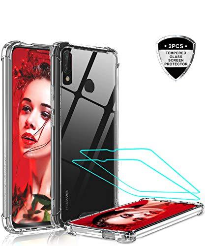 LeYi für Huawei P Smart Z Hülle Handyhülle mit Panzerglas Schutzfolie(2 Stück), Neu Transparent Cover Hard PC Air Cushion Bumper Schutzhülle Handy Hüllen für Case Huawei P Smart Z Crystal Clear