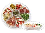 Yesland 16 Inch Appetizer Tray with Lid, 8 Sectional Round Plastic Serving Tray/Food Storage Lunch...