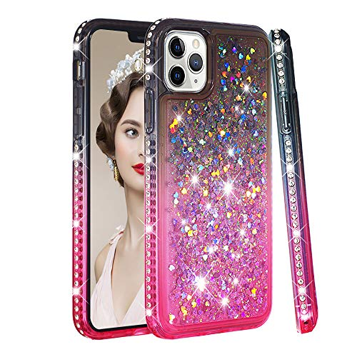 COTDINFOR iPhone 11 Pro(5.8 Inch Funda Líquido Degradado de Color Glitter Sparkle Bling Caso Silicona Blanda Protectora Carcasa para iPhone 11 Pro 2019 TPU Gray Pink YB.