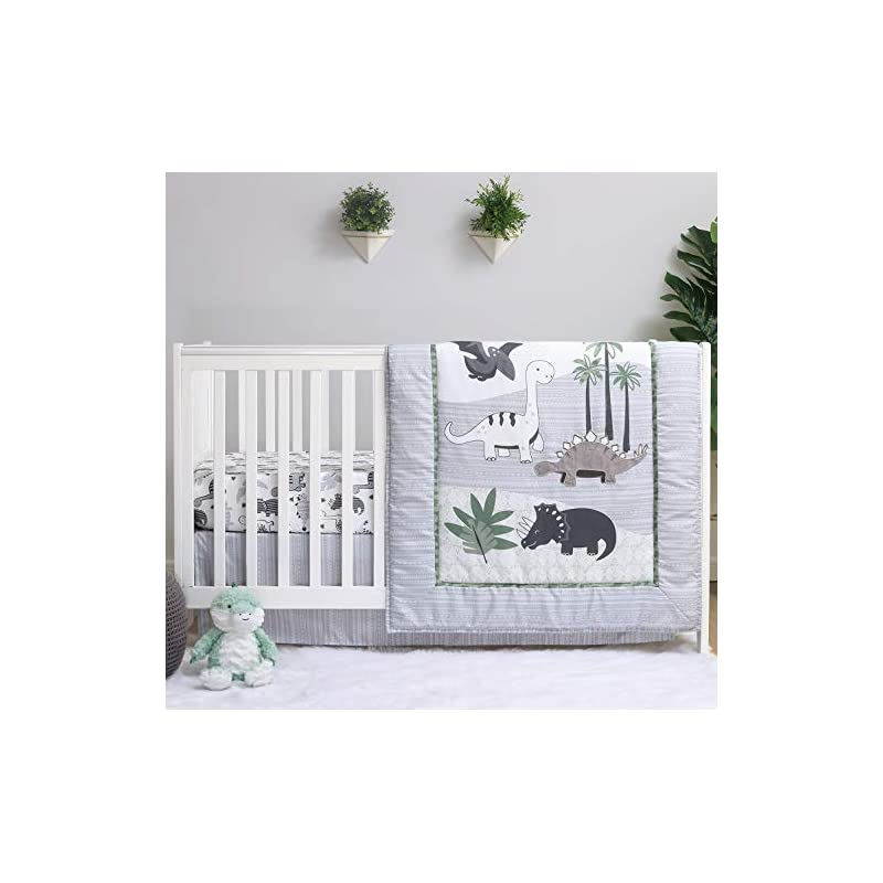 crib bedding and baby bedding the peanutshell dinosaur crib bedding sets for boys | 4 piece nursery set | crib comforter, fitted crib sheet, crib skirt with plush dinosaur toy
