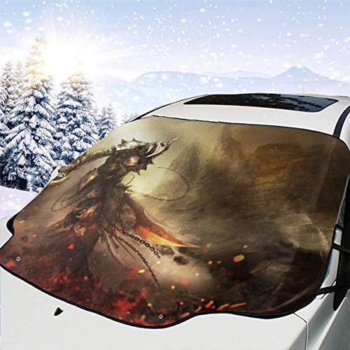 Warrior Car Windshield Snow Cover Protection,Snow,Ice,UV,Frost Defense,Extra Large Windshield Winter Cover Fits Most Cars and SUV
