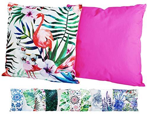JACK XXL Outdoor Lounge Kissen 60x60cm Motiv Dekokissen Wasserfest Sitzkissen Garten Stuhl, Farbe:Pink Flamingo