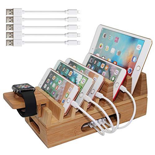 Pezin & Hulin Bambusholz Ladestation, Dockingstationen Organizer Ständer für mehrere Geräte, kompatibel mit Handys, Tablets, Laptop, Pad, Uhrenständer (USB-Ladegerät und Kabel)