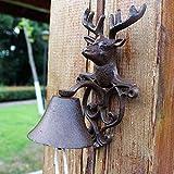 X&Z-XAOY Pantalones de Hierro Fundido Retro Chimes de jardín Partir de Pared Partes de Pared Decorativas artesanías Colgantes 13.6x14x24.2cm Timbre Retro