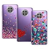 Young & Min Funda para Xiaomi Redmi Note 9T 5G, (3 Pack) Transparente TPU Carcasa Delgado Anti-Choques con Dibujo de Corazón