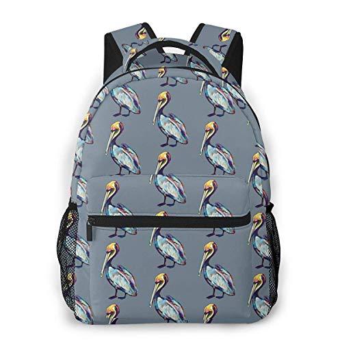 Colorful Pelican by Robert Phelps Causal Daypack Rucksack Vintage College School Bags Multipurpose Laptop Backpack for School/Business/Work/Men/Women