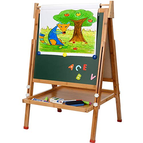 Kids Standing Art Easel with Paper Roll - Height...