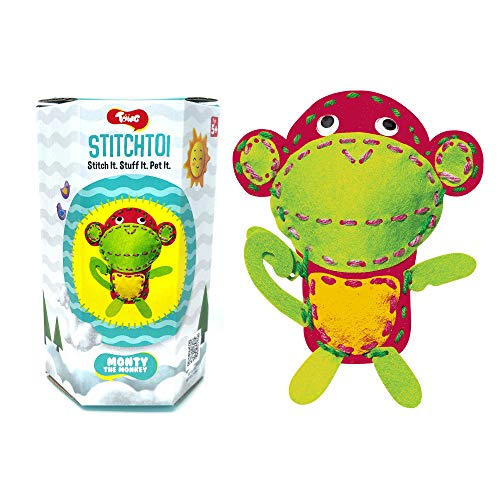 Toiing Stitchtoi Monty The Monkey - Combo Pack of 3 | Sewing Kit for DIY Soft Toy | Art & Craft Kit | Indoor Toy with Story for Kids Age 5 Years & Above