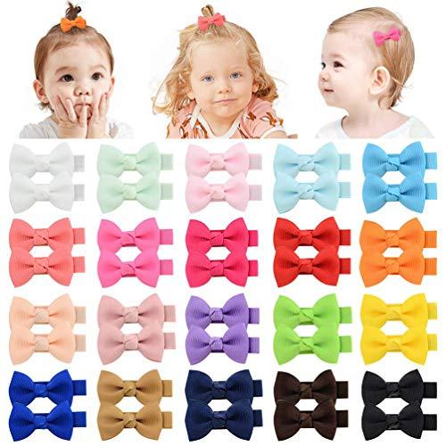 Pequeño pelo arco grosgrain cinta pinzas para el pelo pinzas de cocodrilo para niñas bebés niños pequeños 40pcs