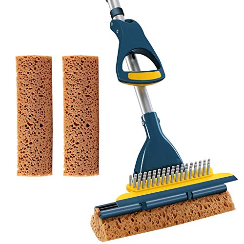 CLEANHOME Sponge Mop with Extendable Long Handle and Scraper Brush Heavy Duty Tile Floor Cleaning Mops with 2 Sponge Heads for Home Commercial Bathroom,Green