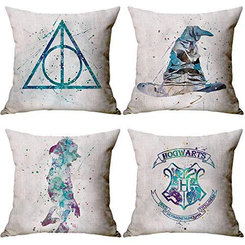 Lufria 4er-Set Kissenbezug Harry Potter Dekorative Kissenbezüge Kissenbezüge Couch Kissenbezug Kissenbezug Couch 45x45cm