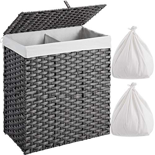 GREENSTELL Laundry Hamper with 2 Removable Liner Bags, Divided Clothes Hamper, 110L Handwoven Synthetic Rattan Laundry Basket with Lid and Handles, Foldable and Easy to Install Gray (22x12x24 Inches)