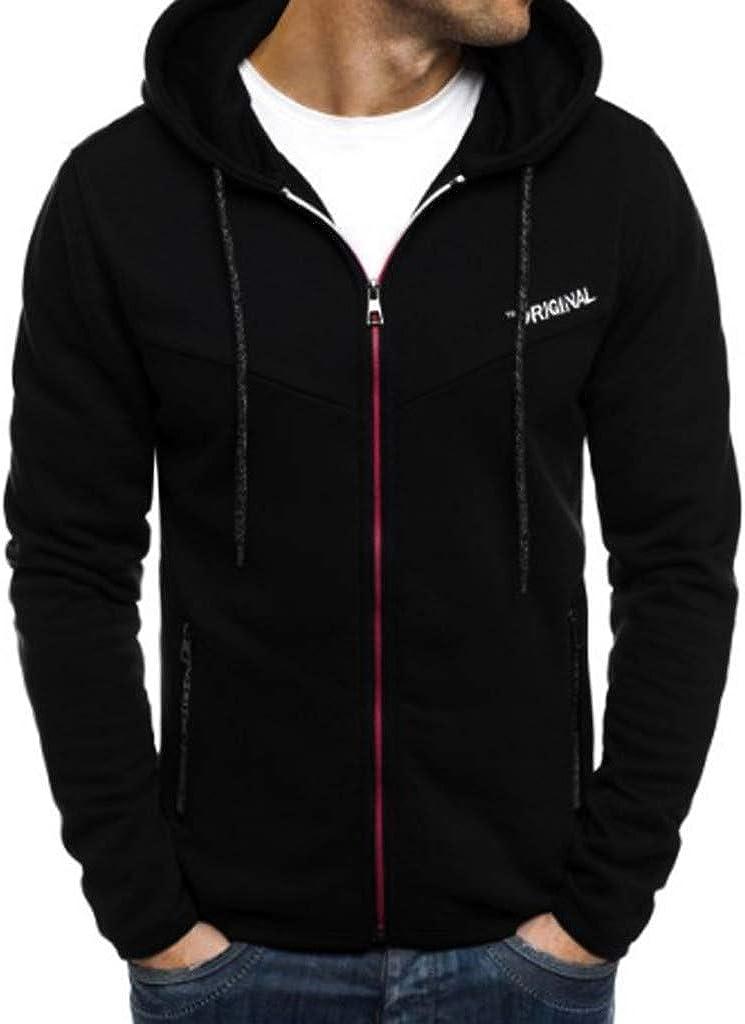 WUAI-Men Full Zip Sweatshirt Coat Cotton Lightweight Sweatshirt Active Sportswear Hoodie Jackets