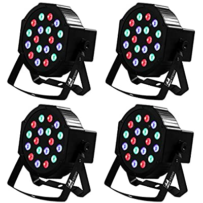 Missyee Stage Lights DJ Lights, 18 Leds RGB Party Light Sound Activated DMX 512 for Birthday Party Wedding Bar Club KTV Home Festival(4 pack)