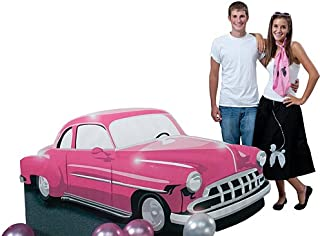 50s Fifties Drive in Pink Car Standee Party Prop Standup Photo Booth Prop Background Backdrop Party Decoration Decor Scene Setter Cardboard Cutout