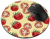 滑り止めの丸いマウスパッド たっての熱 ホームオフィスとゲームデスク用のシルバードッグポーマウスパッド-FreshTomatoesPattern