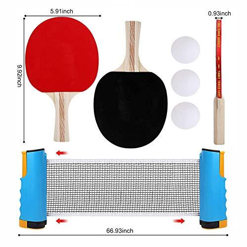 Tenis De Mesa Juego De 2 Jugadores 2 Raquetas De Palos De Tenis De Mesa Y 3 Pelotas De Ping Pong 1 Red Retráctil con Funda