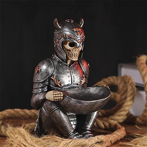 UNHGP Skeleton Decor, The Viking Warrior Skeleton Skull Jewelry Soporte para Anillos con Bandeja Soporte para baratijas Soporte para Llaves de Escritorio Decoración para el hogar y la Oficina