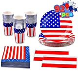 JOYIN 92 Pcs Patriotic Party Supplies Set of 2 American Flag Table Covers 30 Paper Cups 30 Paper Plates 30 Napkins for 4th of July, Independence Day, Memorial Day Decorations, Veterans Day (Serves 30)