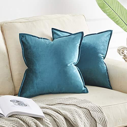 OMMATO Kissenbezug 50x50 cm Kissenbezüge Samt dekorative Kissenhülle 2er Set Dekokissen für Sofa Schlafzimmer Wohnzimmer Auto Pfauen Blau