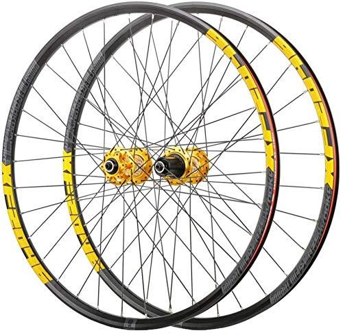 Juego de ruedas de freno de disco de bicicleta MTB de 26/27.5/29 pulgadas, rodamientos sellados de liberación rápida de aleación de aluminio de doble pared Ruedas delanteras y traseras de bicicle