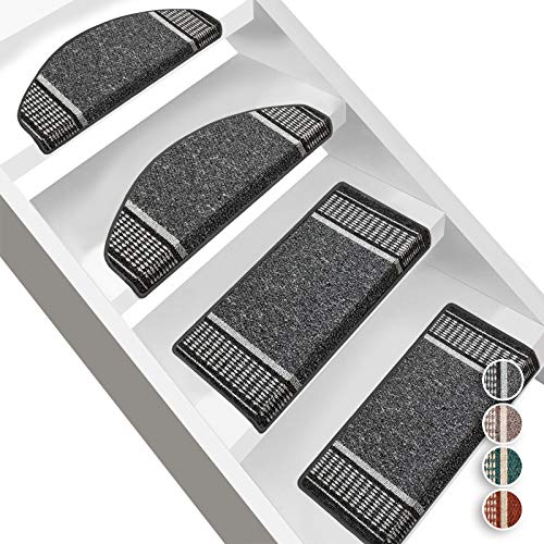 Floordirekt Stufenmatten Promenade | Halbrund oder Eckig | Treppenmatten in 4 Farben | Strapazierfähig & pflegeleicht | Stufenteppich für Innen (Anthrazit, Halbrund 65 x 23,5 cm)