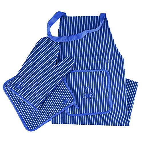 UNITED COLORS OF BENETTON. Set 3pcs (Delantal+manopla+agarrador) 100% algodón 190gsm Azul Casa Benetton, M