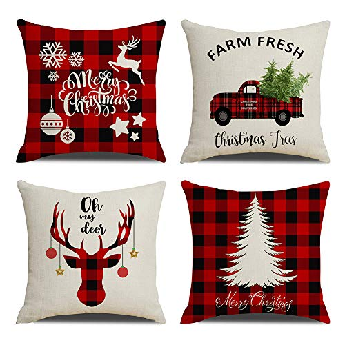 KACOPOL Christmas Decorations Pillow Covers Christmas Tree Snowflake Snowman Reindeer Home Decor Cotton Linen Throw Pillow Case Cushion Cover 18' x 18' Set of 4 Xmas Gifts (Buffalo Plaids-4 Pack)