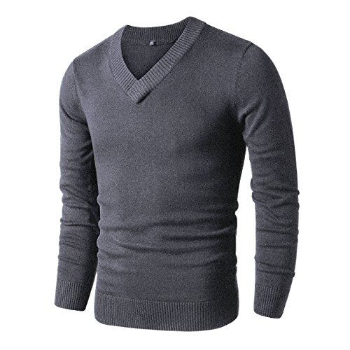LTIFONE Sweaters for Men,V Neck Slim Comfortably,Knitted Long Sleeve (Dark Grey,S)
