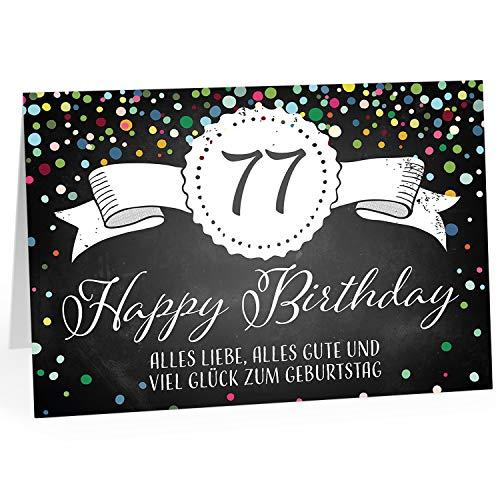 Große Glückwunschkarte XXL (A4) zum 77. Geburtstag - Tafel-Look Konfetti/mit Umschlag/Edle Design Klappkarte/Glückwunsch/Happy Birthday Geburtstagskarte/Extra Groß/Edle Maxi Gruß-Karte