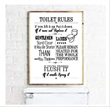 DPFRY Toile Imprimer Toilette Règle Mur Art Moderne Amusant Salle De Bains Règle Affiche Imprimer Toilette Humour Image Salle De Bains Home Decor Fa16 40X60Cm sans Cadre