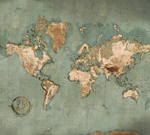 puissant Papier peint intissé Scenolia Carte du monde Planisphère Mural 3x 2,70 m – Effet décoratif…