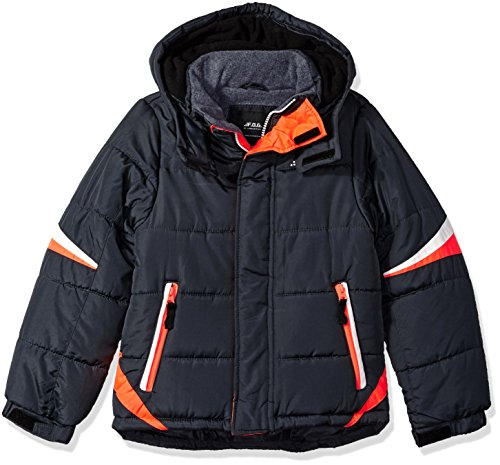 LONDON FOG Boys' Big Active Puffer Jacket Winter Coat, Super Grey, 10/12