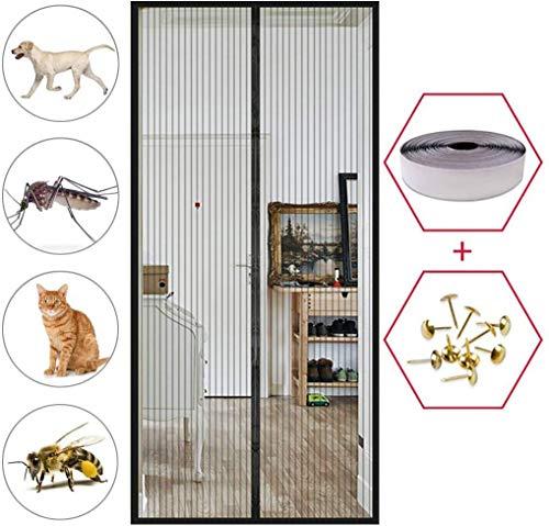 SODKK Mosquitera Magnética para Puertas, Pantalla MagnéTica, Cortina de Fibra de Vidrio de Primera Calidad, Velcro Adhesiva, Bueno para Niños y Perros - Negro 70x210cm(27x82inch)