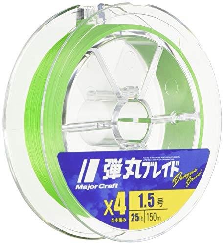 メジャークラフト 弾丸ブレイド 4本編み グリーン 150M 1.0号